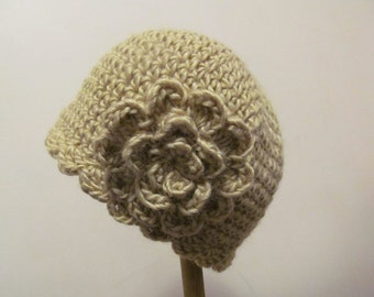 SALE Chemo Cap Crochet Beige Chemo Hat Cap Beanie, Womens Hat, with Flower