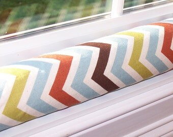 Window or DOOR DRAFT STOPPER Snake Premier Prints Designer Home Decor Village Blue Rust Brown Zig Zag Chevron