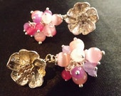 Flower Cluster Silver Earrings with Mexican Opal, Rose Quartz, Alexandrite Rose Stone