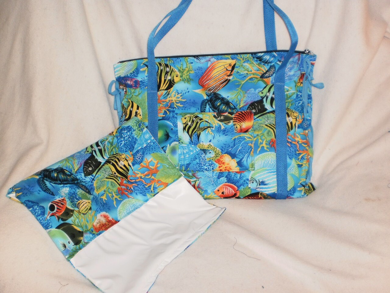 tropical fish diaper bag with matching changing pad. Black Bedroom Furniture Sets. Home Design Ideas