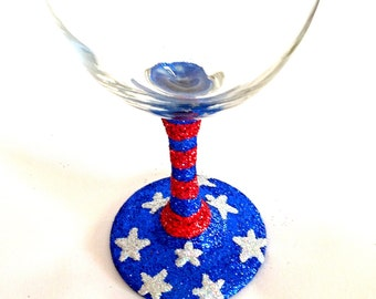 Stars and Stripes  glitter wine glasses 4th of July