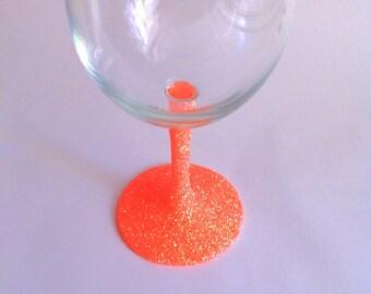 Bright neon orange wine glass //SALE//