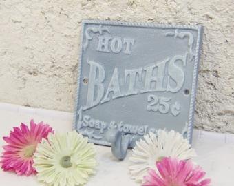 Shabby Towel Holder/Bathroom Hook/Cast Iron Decor/Shabby Metal Decor/Robe Hook/Bathroom Towel Holder/Metal Decor/GREY Decor