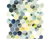 Hexagon Shadows- Watercolor Art Print