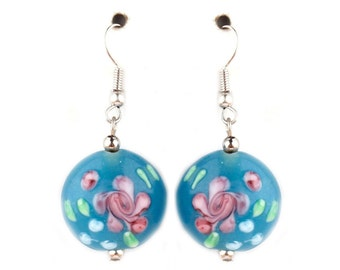 Blue Floral Ceramic Earrings/ Floral Flower Summer Fashion/ Bright Colorful Earring/ Beaded Glass Earrings/ Cute Chic Pastel Earrings