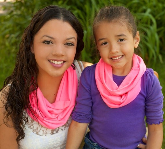 Mother daughter infinity scarf Pink infinity scarf Animal Print  Mother Mother Mother Daughter Matching Scarf