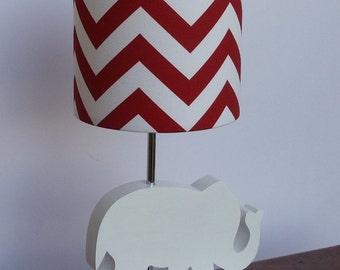 Small Red/White Chevron Drum Lamp Shade - Nursery or Kid's Lamp Shade