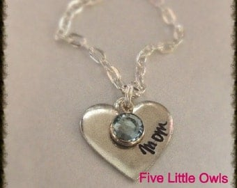 Hand stamped pewter heart for mom, grandma