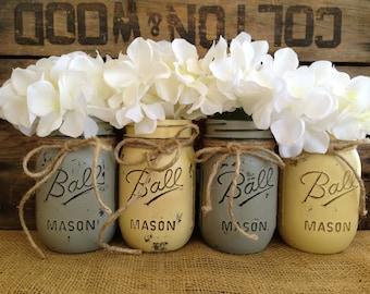 Sale set of 4 pint mason jars painted mason jars flower sale set of 4 pint mason jars ball jars painted mason junglespirit Choice Image