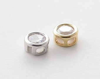 3242032 / Round Cubic (Large) / Rhodium Plated Brass with CZ Connector 7.7mm External Diameter / 0.7g / 4pcs