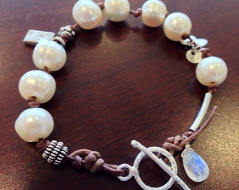 Leather & Freshwater Pear bracelet thai silver charms sterling toggle Sundance style moonstone gift birthday wedding bridal