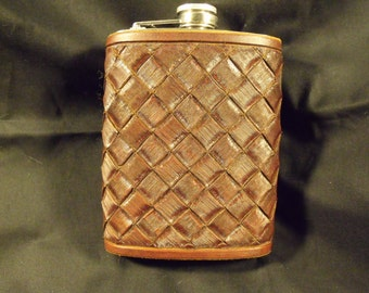 Woven leather flask