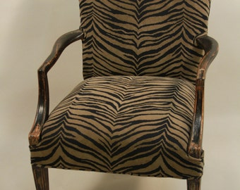 Distressed Animal Print Upstyled ArmChair