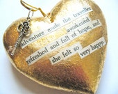 OOAK Gold Heart Found Poetry Ornament Wall Art Poem Upcycled Recycled Paper Repurposed Book Wizard of Oz Adventure Traveler Words Happy Key - HeidiKindFinds