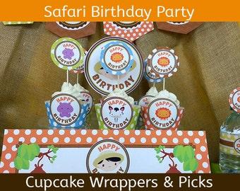 Safari Birthday Cupcake Wrappers / Jungle Birthday Cupcake Wrappers and Picks  / Set of 24