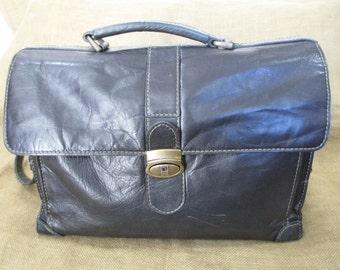 Vintage black leather briefcase messenger bag with shoulder strap