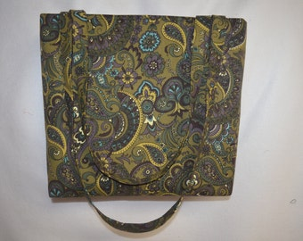Canvas Green and  Purple Paisley Tote Bag/ Beach Bag/ Bridesmaid Tote/ Diaper Bag
