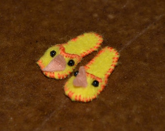 Miniature Chick Slippers for 1/12 dollhouse