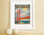 SAN FRANCISCO, San Francisco Art, Travel Art, San Francisco Illustration, San Francisco Print, Golden Gate Bridge Art