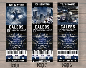 Dallas Cowboy, Dallas Cowboy Birthday Invitation, Dallas Cowboy Birthday Party