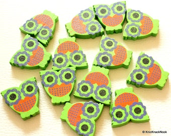 Green And Orange Owl Wood Beads x 10