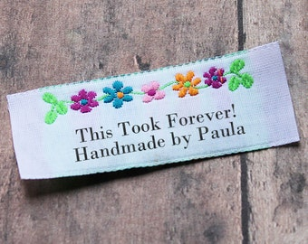 Floral Border Clothing Labels, Custom Woven Labels, Woven Labels, Flower Labels, Personalized Labels for Crafts, Fabric Labels, Labels