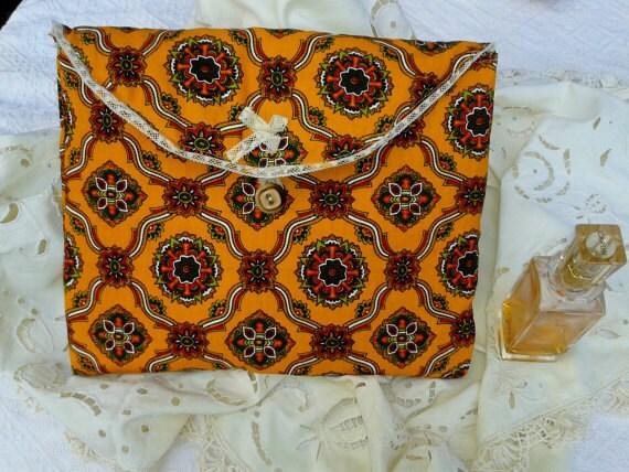 Orange Provence Cotton Padded Case Lace Trimmed Handmade Bag #sophieladydeparis
