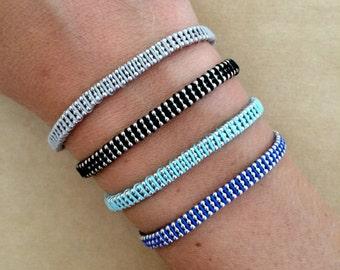 Silver Plated Triple Ball Chain Friendship Bracelet - Ball Chain Bracelet, Macrame Bracelet