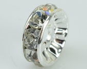 50 pcs of clear rhinestone rondelle round spacer beads 8mm