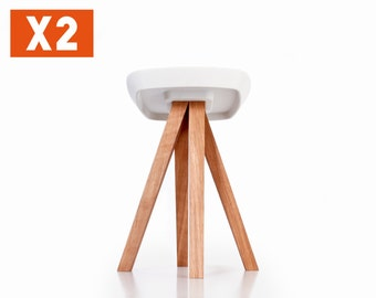 Stools bundle (quantity 2) - White concrete cast - Oiled solid wood - Interlocking assembly without tools