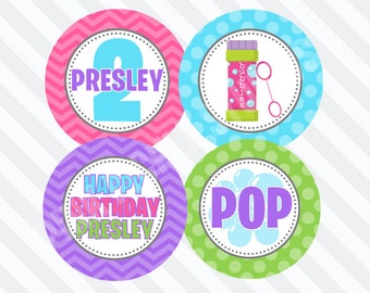 Bubbles Cupcake Toppers, DIY Cupcake Toppers, Printable Cupcake Toppers, Party Circles :No.457