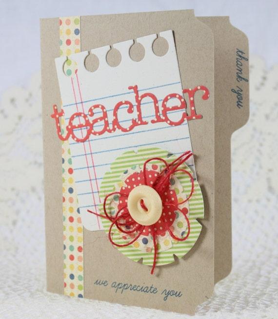 Handmade Greeting Card Teacher Appreciation