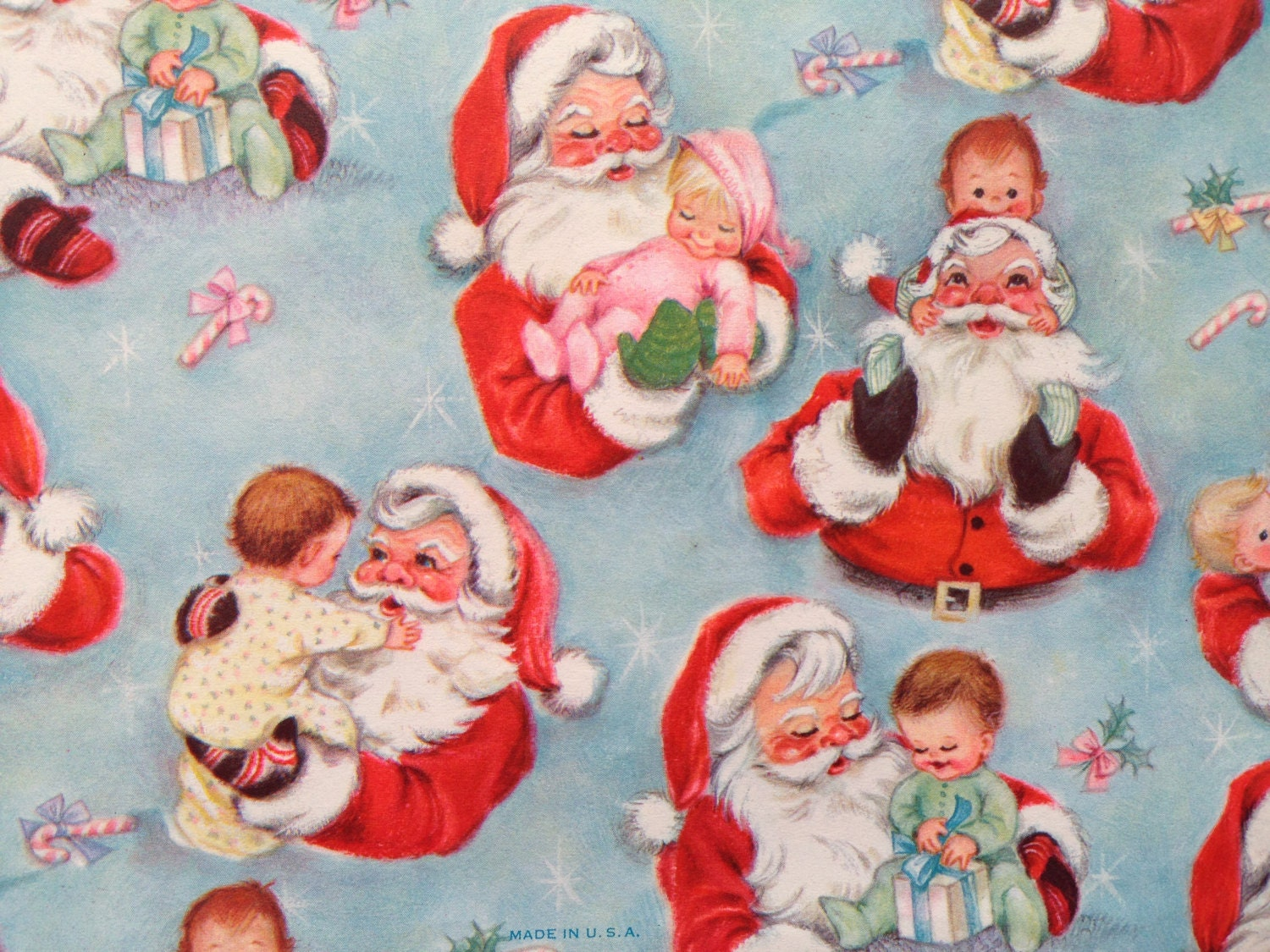 Vintage Christmas Gift Wrapping Paper Baby S First