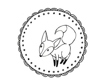 Fox Embroidery Pattern Printable Woodland Animal Digital Downloadable 0005