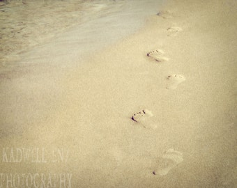 "Michigan Photography ""Footprints in the Sand"" Fine Art Photograph Holland MI Beach Shore Nautical Lake Michigan Nature Landscape Home Decor"