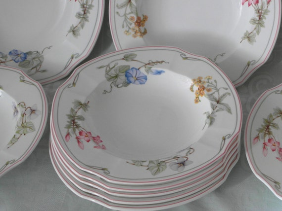 soup plate villeroy boch clarissa bone china porcelain with flowers. Black Bedroom Furniture Sets. Home Design Ideas