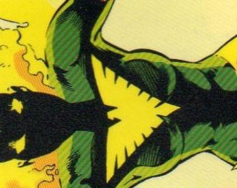 Bookmark - Comic Book Bookmark - Graphic Novel Bookmark - Phoenix - Excalibur - Xmen - Yellow - Green - Fire - Laminated - Card Stock Backed