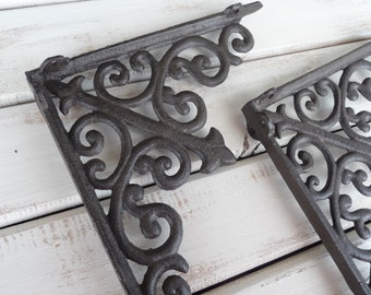 Set of 2 SCROLL Shelf Brackets - Cast Iron or Distressed White - Tuscan Old World Rustic - Wall Decor - Corner Trims - Home Decor