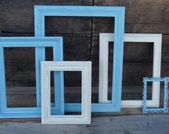 5 Hand Painted Wood Open Frames Collection ~ Sky Blue & White Distressed ~ Wedding Events Home Decor ~ Set of 5