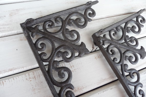 Set Of 2 SCROLL Shelf Brackets Cast Iron Or Distressed White