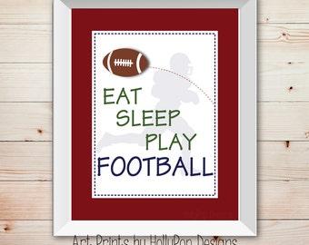 Eat Sleep Play Football Sports Wall decor Boys Wall Art Football Decor Football player silhouette Baby Boy Nursery Decor Custom Colors #0415
