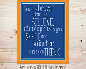 You are Braver than you Believe Baby Boy Nursery Decor Kids Room Art Print Orange Navy Wall Art Toddler Boy Wall Wall Nursery Art Print
