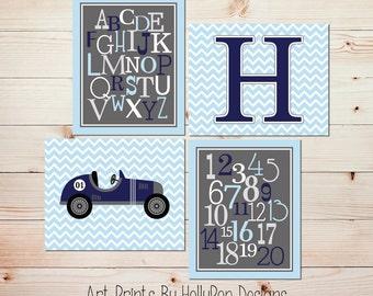 Boy Nursery Prints Toddler Boy Bedroom Art Navy Blue Gray Wall Decor Transporation Art Alphabet Number Print Baby Boy Nursery Decor #0683
