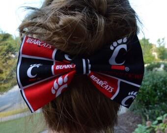 University of Cincinnati hair bow, sports hair bows, sports fans accessories, hair accessories, Bearcats