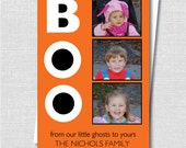 Boo Halloween Photo Card - Halloween Greeting - Happy Halloween - Digital Design