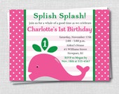 Girl Whale Birthday Party Invitation - Pink and Green - Under the Sea Birthday - Digital Design or Printed Invitations - FREE SHIPPING