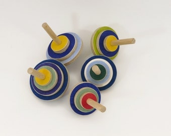 5 Wooden Spinning Tops, eco-friendly kids wooden toy