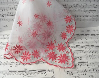 Scalloped edge nylon flocked poinsettia handkerchief / vintage Christmas holiday hankie