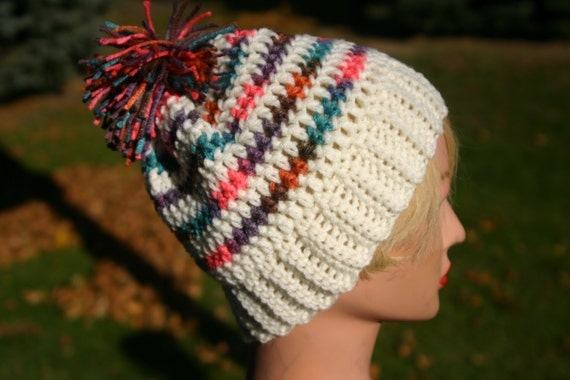 Free Crochet Pattern Multi Colored Hat : Items similar to Kids Crochet Beanie Hat Multi Colored ...
