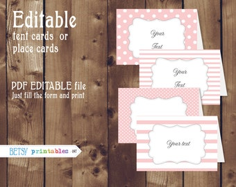 Editable buffet cards - pink dots and stripes tent cards - INSTANT DOWNLOAD  097